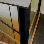 Broadview Remodel - Detail of custom blackened steel and glass guardrail
